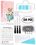 Fopurs 134pcs Cake Decorating Supplies Kit, 52 Numbered Stainless Steel Icing Tips with Storage Box, 50 Ultra-thick Icing Bags, 12 Icing Bag Ties, Decorating Tip Poster and More