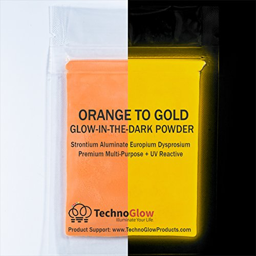 Orange/Gold UV/Glow in the Dark Pigment Powder - 30-40 um-500g by Techno Glow Inc