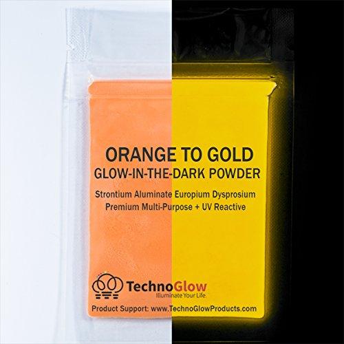 Orange to Gold Glow in the Dark & UV Reactive Pigment Powder - 30 Grams