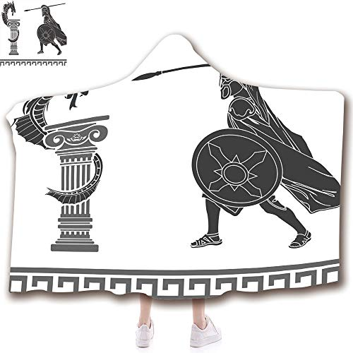 Fashion Blanket Ancient China Decorations Blanket Wearable Hooded Blanket,Unisex Swaddle Blankets for Babies Newborn by,Ancient Hero and Dragon Hellenic Legend Fantasy,Adult Style Children Style
