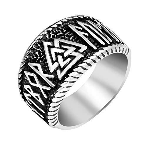 (PiercingJ Vintage Mens 316L Stainless Steel Nordic Norse Viking Valknut Warrior's Ring Odin Symbol Rune Amulet Ring Scandinavian Viking Jewelry)