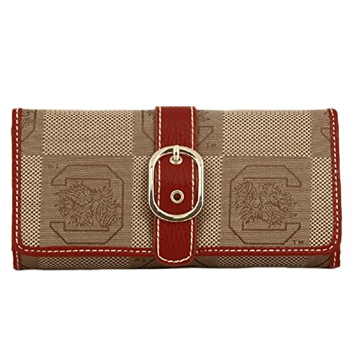 (Sandol South Carolina Gamecocks Leather and Jacquard Fabric Ladies Marlo Wallet)