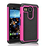 LG Nexus 5X, Tinysaturn(TM) [Ysaturn Series] Hybrid Shock Absorbing Dual Layer Slim Tough Rugged Plastic Hard Shell Rubber Scratches Resistant Cover Case For LG Nexus 5X (2015 Release) [Rose / Black]