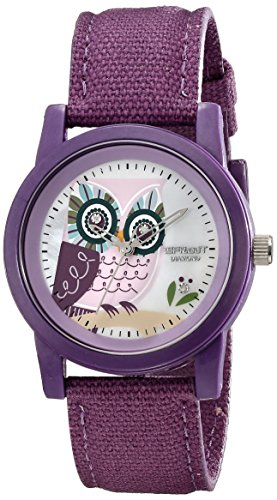Sprout Women's ST/5503MPPR Organic Cotton Straps Diamond Accented Owl Printed Dial Purple Cotton Strap  Watch