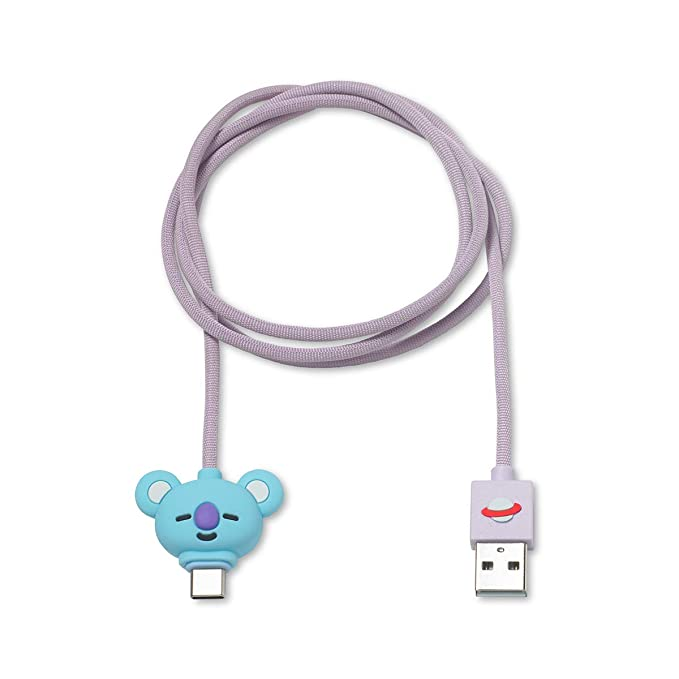 BT21 Official Merchandise by Line Friends - KOYA 3ft USB-C to USB-A  Charging Cable Compatible with Galaxy, Note, Pixel 3, Blue/Pink