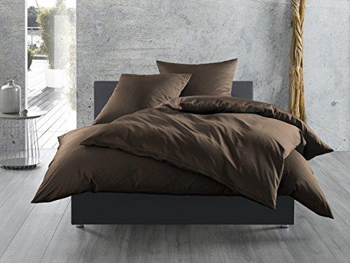 Mako-Satin Baumwollsatin Bettwäsche uni einfarbig zum Kombinieren (Kissenbezug 80 cm x 80 cm, Dunkelbraun)