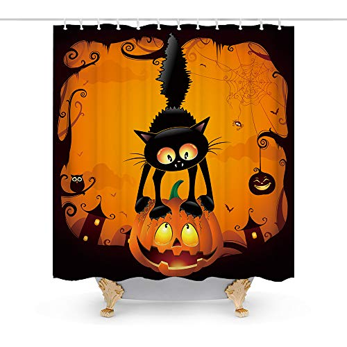 Final Friday Happy Halloween Scary Black Cat on The Pumpkin Theme Fabric Shower Curtain Sets Bathroom Decor with Hooks Waterproof Washable 72 x 72 inches Black and Orange