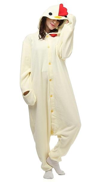Auspicious beginning Traje de cosplay unisex-blanco del adulto Pollo Animal pijamas Homewear desgaste del