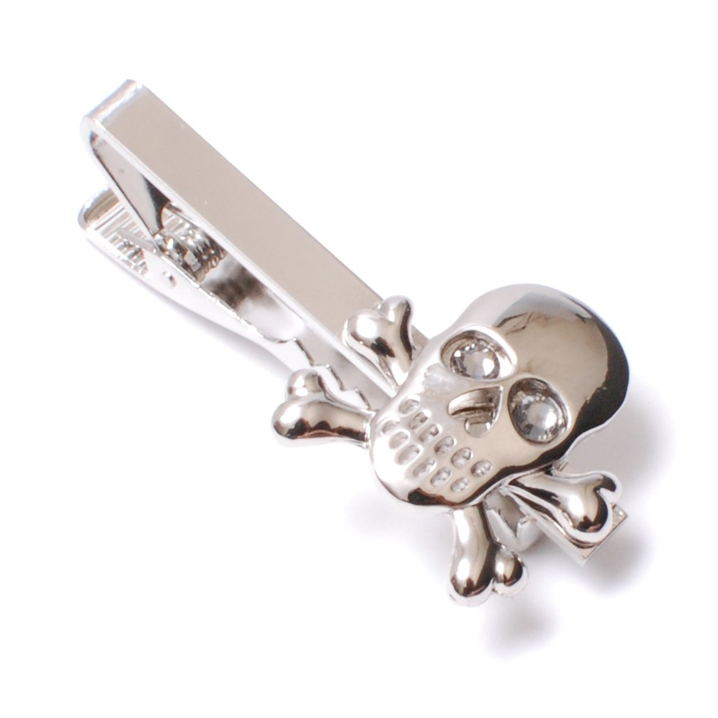 AMANOGAWA Men's Skeleton with Swarovski Tie Clip Narrow , Silver by AMANOGAWA
