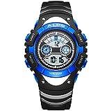 ALPS Kids Boys Girls MultiFunction Digital LED Waterproof Sport Watch (Blue)