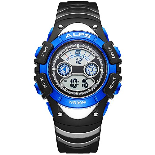 ALPS Kids Boys Girls MultiFunction Digital LED Waterproof Sport Watch (Blue)