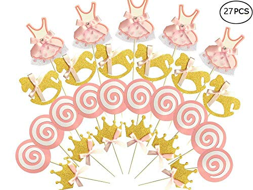 Kapok life 27-pac Pink and Gold Girl Baby Shower Cupcake Toppers Picks, Glitter Crown Dress Trojan Lollipop Cake Toppers, Girls Birthday Party Favor Decoration Kit ()