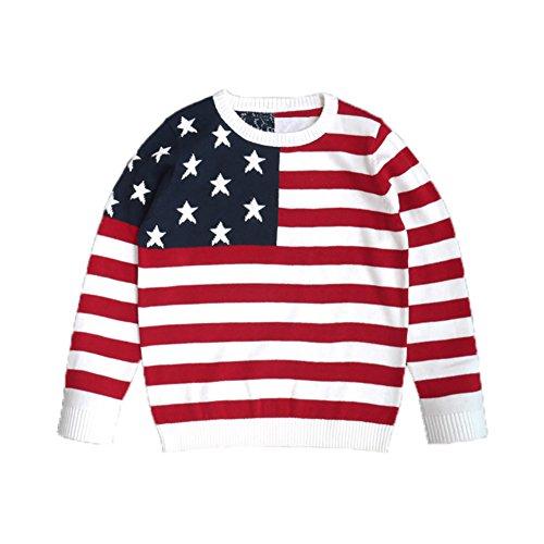 VICVIK Boy Long Sleeve Crew Neck Classic American Flag Printing