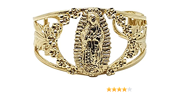 Stainless Steel Our Lady of Guadalupe Cuff Bangle Bracelet Medium Womens Size