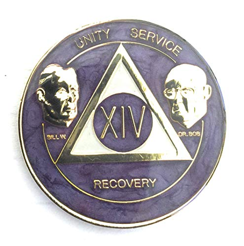 Recovery Line 14 Year AA Medallion - Alcoholics Anonymous Purple Swirl with Bill & Bob Sobriety Chip,Token, Coin