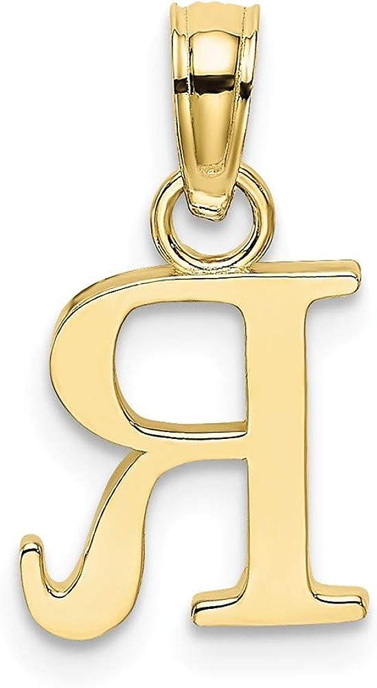 Letter R Block Initial 10K Yellow Gold Small Charm Pendant High Polish