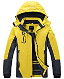 Wantdo Women's Mountain Waterproof Fleece Ski Jacket Windproof Rain Jacket US M Yellow
