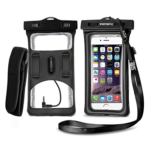 Ipod Waterproof Armband - Vansky Floatable Waterproof Phone Case, Waterproof Phone Pouch Dry Bag with Armband and Audio Jack for iPhone X, 8 Plus, 8, 7 Plus, 7, 6s, 6, Andriod TPU Construction IPX8 Certified.