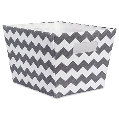 DII Fabric Trapezoid Storage Container for Nurseries, Offices, Closets, Home Décor, Cube Organizer & Everyday Use,(Basket - 12x10x8) Chevron Gray