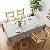 Grey Rustic Square Table Cloth (55'x70') - Cotton Linen Table Cloths for Kitchen - Dust-Proof Table Cover - Modern Decorative Dining Table Cover - Outdoor Patio Table Cover - Rectangle Tablecloth
