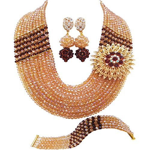 aczuv 10 Rows African Beads Jewelry Set for Women Nigerian Wedding Bridal Jewelry Sets (Gold AB and Brown) ()