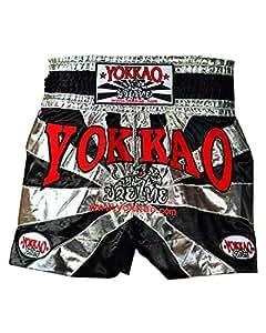 Yokkao Buakaw Shorts for Men - Black-Silver, L