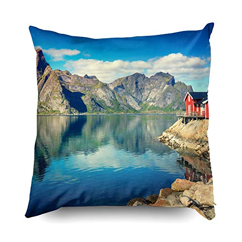 Nature 18x18 Pillow Cases,Cusion Pillow Cover,TOMWISH Zippered Decorative Throw Cotton Pillow Case Cushion Cover for Home Decor norway fjord nature cape north skyline lofoten mountain build house fish