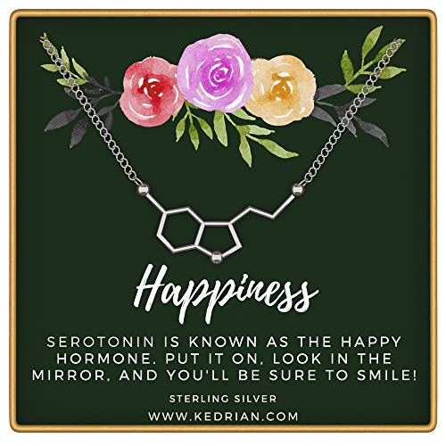 KEDRIAN Serotonin Necklace, 925 Sterling Silver, Happiness Necklace, Molecule Necklace for Women, Ideal Necklaces for Science Lovers, Science Gifts for Women (Jewelry Happiness)