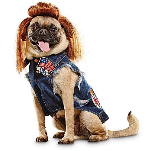 Dog With Mullet (Bootique Denim Vest and Mullet Dog Costume,)