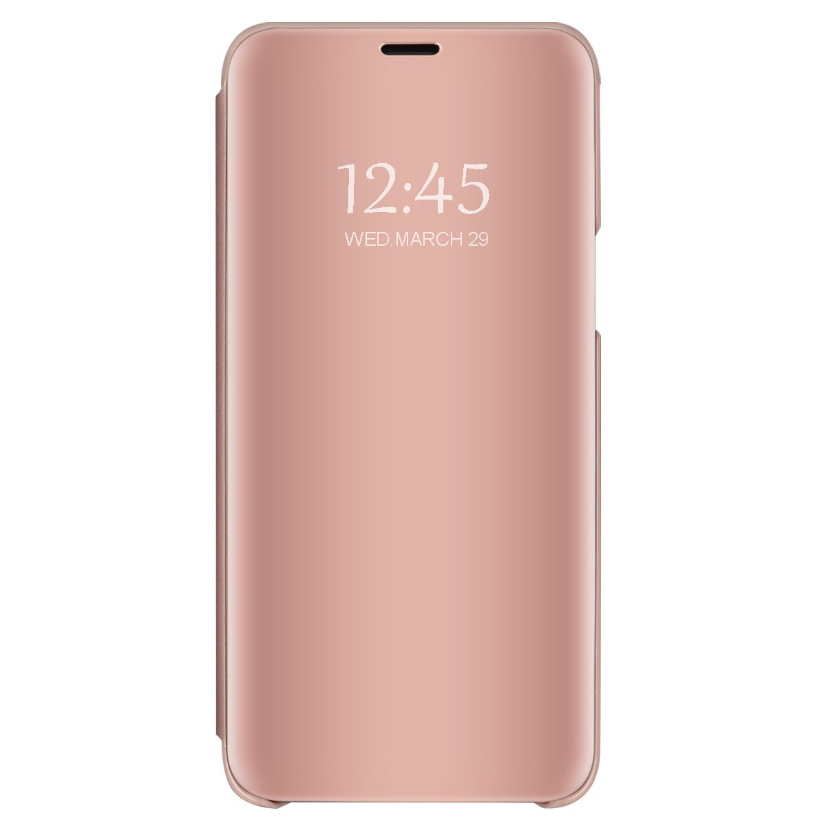 Samsung Galaxy S8 Mirror Case, Slim Metal Electroplate Plating Clear View Flip Leather Holder Phone Cover with Kickstand Hard Protective Anti-Scratch PC Cover for Galaxy S8 Plus (Rose Gold, S8 Plus)
