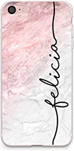 """CasesByLorraine Compatible with iPhone SE 2020 / iPhone 8 / iPhone 7 Case, Marble Print Personalized Custom Name Handwriting Style Case Flexible TPU Soft Gel Protective Cover for iPhone 7/8 4.7"""""""