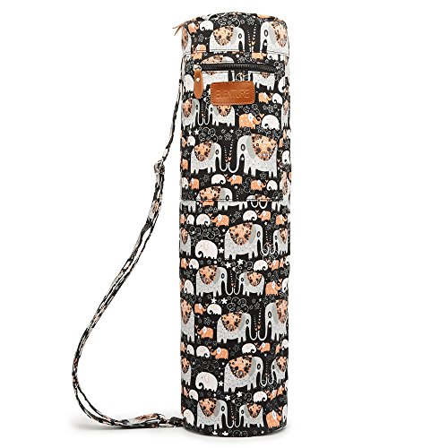 ELENTURE Full-Zip Exercise Yoga Mat Carry Bag with Multi-Functional Storage Pockets (Black Elephant)