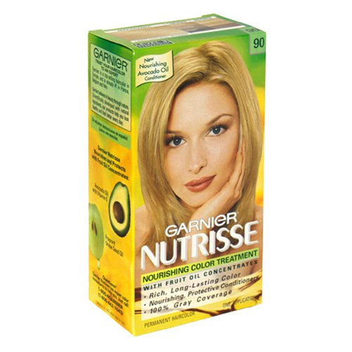 Garnier Nutrisse Nourishing Color Treatment with Fruit Oil Concentrates, Level 3 Permanent, Light Natural Blonde 90 (Pack of 3)