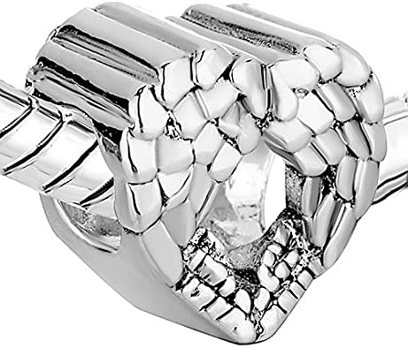 Uniqueen Jewellery New Style Angel Wing Heart Spacer Charms Beads Fit Bracelet