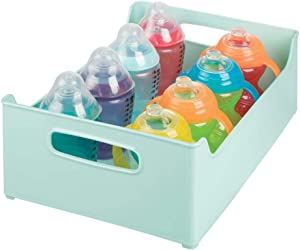 """mDesign Stackable Plastic Storage Organizer Containers with Handles for Kitchen Countertop, Cabinet, Pantry, Refrigerator - BPA Free - for Kids Snacks/Food - 10"""" Wide - Light Mint Green"""