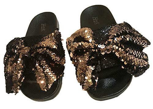 (H2K Women's Slide Slipper with Sequin Bow (6, Rose Gold))