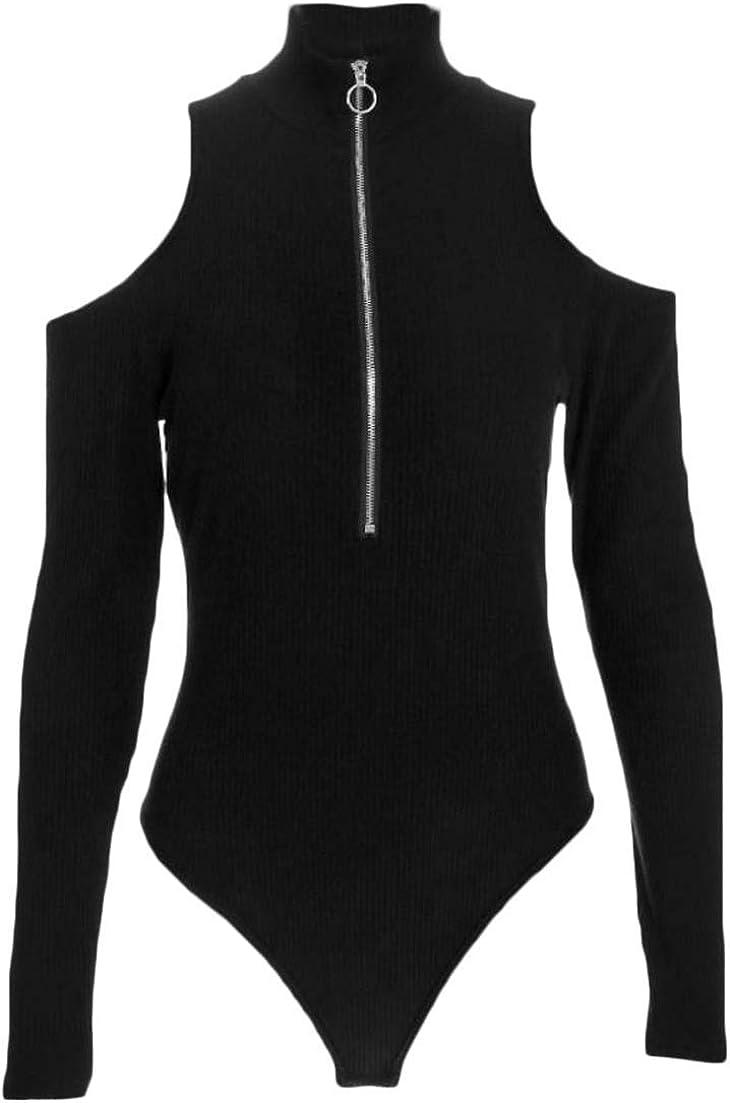 Joe Wenko Womens Bodysuit Cold Shoulder Triangle Turtleneck Romper Zipper Jumpsuits