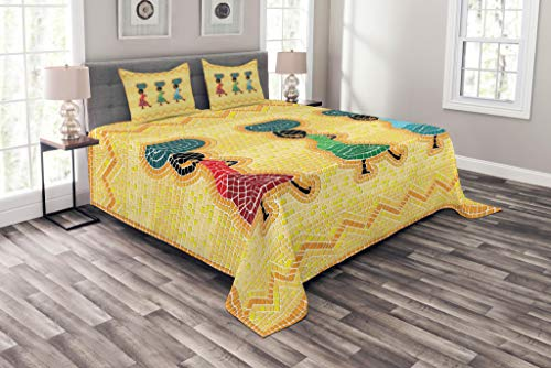 Lunarable African Coverlet Set Queen Size, Mosaic Pattern of an African Scene with Women Carrying Food Basket Traditional, Decorative Quilted 3 Piece Bedspread Set with 2 Pillow Shams, Multicolor