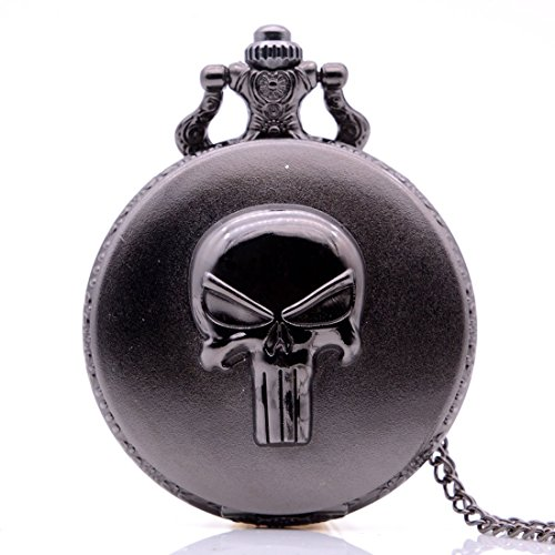 Antique Retro Skull Punisher Mens Boys Quartz Pocket Watch Necklace Chain Pendant Black from KDJSTORE
