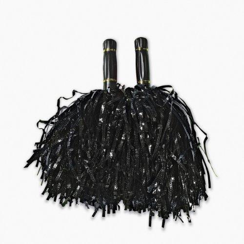 Fun Express Black Metallic Foil Pom Poms 2 - Poms Metallic Black Pom