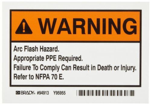 "Brady EL-1 5"" Width x 3-1/2"" Height, B-302 High Performance Polyester, Black and Orange on White Arc Flash Warning Labels, Header ""Warning"" (Pack of 5)"