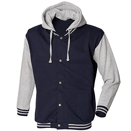 Hood Fit Sleeve Skinni Baseball Navy With Long Detachable Heavy Mens Grey Weight Heather Jacket vdttpq