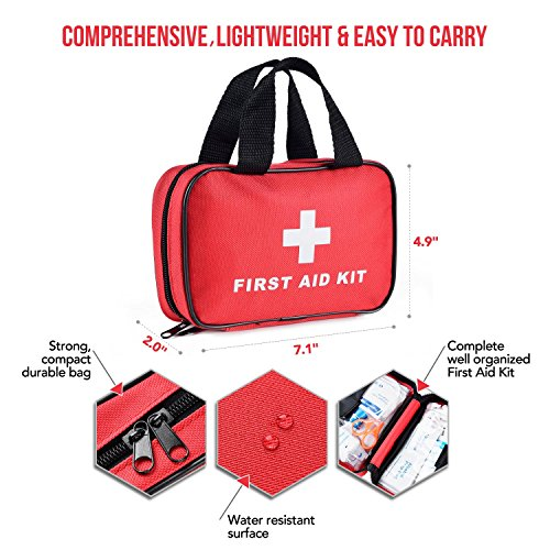 SlimK 112 Piece First Aid for Car Emergency Kit Home Medical Camping Office Travel Compact (112 Accessory Kit)