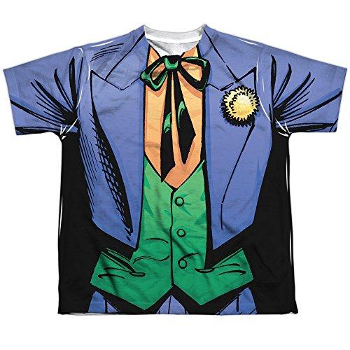[Batman DC Comics Superhero Joker Costume Big Boys 2-Sided Print T-Shirt Tee] (60s Costume Ideas For Boys)