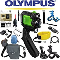 Olympus Stylus Tough TG-Tracker Wifi Action Camera (Green) + Sony 32GB MicroSD Card + Floating Strap + Flexpod + Case + Travel Charger + Battery + Suction Mount + Bike Mount + Selfie