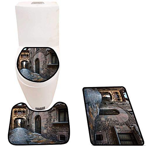 - Bathroom Non-Slip Rug Set Barri Gothic Quarter and Bridge of Sighs in Barcelona,Catalonia,Spain in Bath Mat Bathroom Rugs