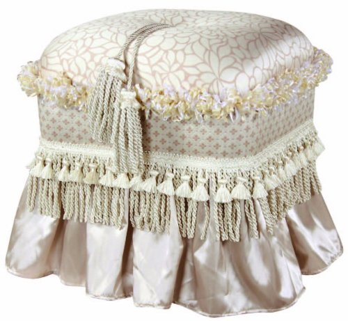 Jennifer Taylor Home Traditional Collection Upholstered Rectangular Ottoman with Skirt and Trim Tassels, Pearl White (Floral Upholstered Ottoman)