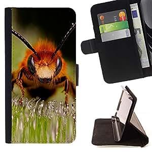 Momo Phone Case / Flip Funda de Cuero Case Cover - Abeja Macro - Samsung Galaxy S6 Edge Plus / S6 Edge+ G928