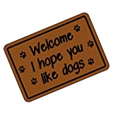 FUNNY KIDS' HOME Funny Doormats Welcome I Hope You Like Dogs Custom Personalized Durable Mat 23.6''(L) x 15.7''(W)