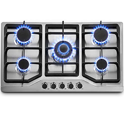 """Happybuy 34""""x20"""" Built-in Gas Cooktop 5 Burners LPG/NG Gas Stove Cooktop Stainless Steel Cooktop Gas Hob With Liquid Propane Conversion Kit Thermocouple Protection & Easy To Clean"""